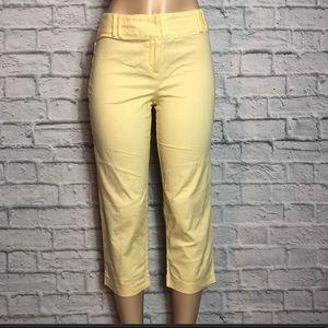 Ann Taylor Loft Light Yellow Stretch Capris Size 4